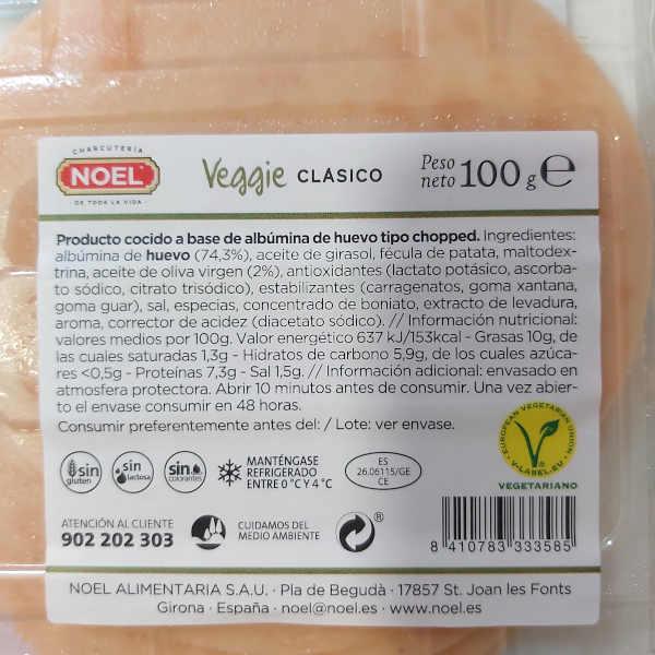 Embutido vegetariano Noel calorías e información nutricional
