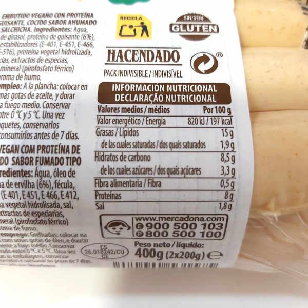 Calorías y valores nutricionales de las salchichas veganas de Mercadona