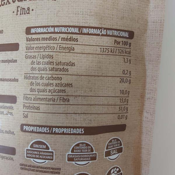 Información nutricional, calorías, proteínas de la soja texturizada Mercadona