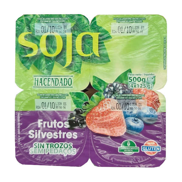 Yogur soja frutos silvestres Mercadona