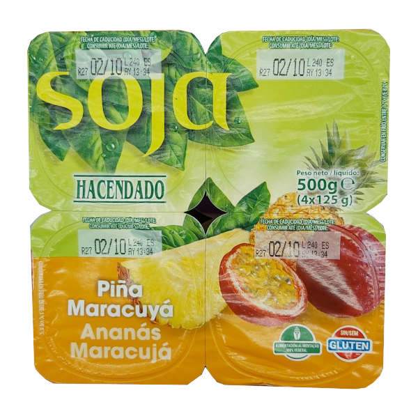 Yogur Soja Piña y Maracuyá (Mercadona)