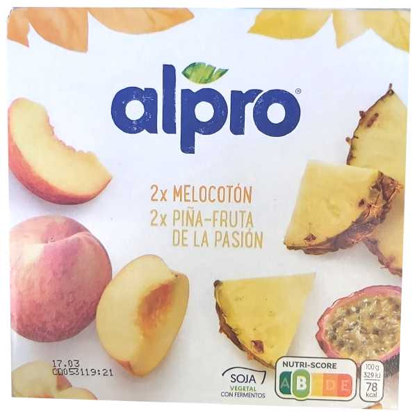 Yogur Alpro Passion Fruit - Piña y Melocotón