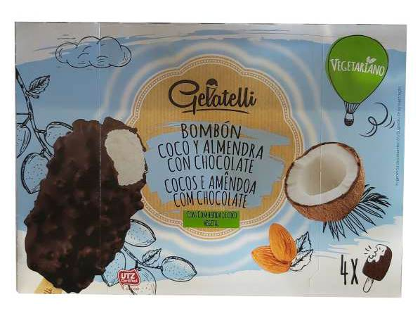 Helado vegano Lidl de chocolate y almendra (Gelatelli)