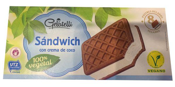Helado vegano Lidl tipo sandwich sabor coco (marca Gelatelli)